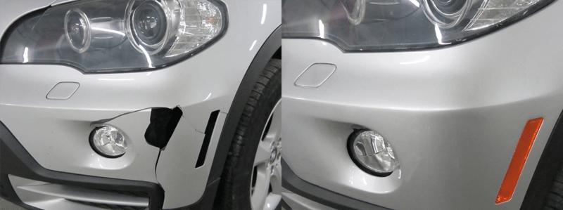 Фото пример до и после ремонта разлома бампера в Калининграде
