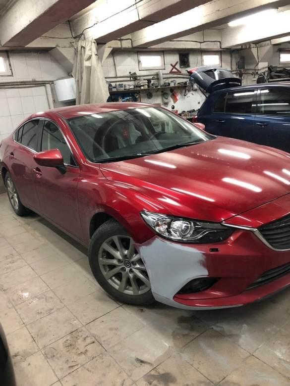 Mazda ремонт и покраска переднего бампера фото