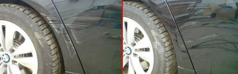 Фото пример до и после ремонта царапины на кузове авто