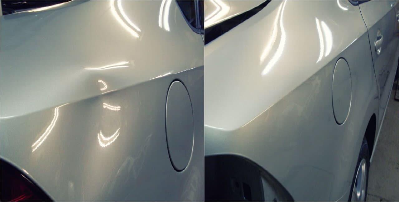 Фото примера до и после удаления вмятины без покраски